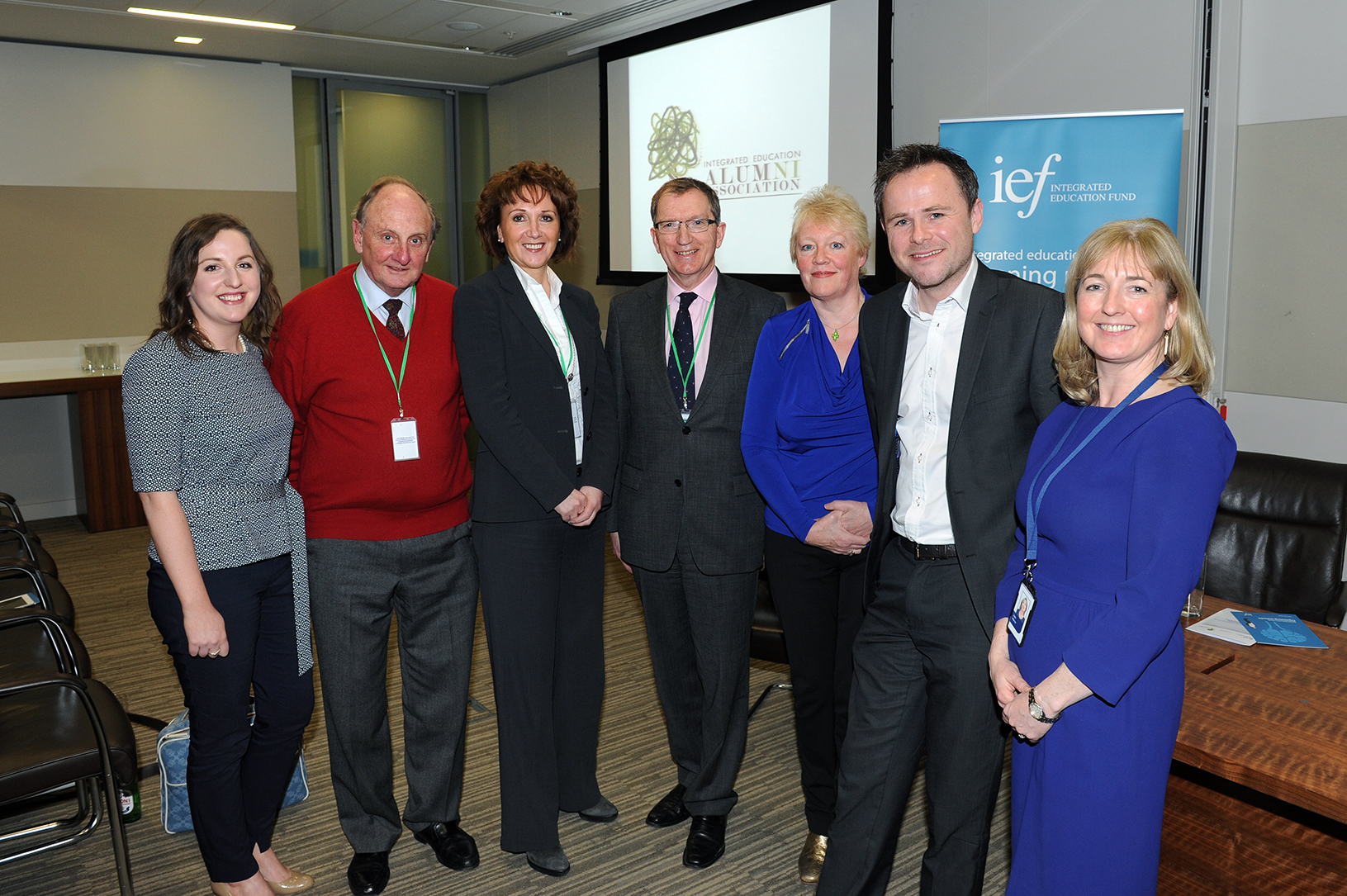 Integrate NI Article Reform Education to boost NI education. Photograph by Malcolm McNally. IE ALUMNI DELOITTE HQ. In the picture: L to R: Treasa Harkin (IEAA London), Sir Richard Needham, Karena Vaughan (Invest NI), Ian Doherty (James Doherty Meats), Mary Mckenna MBE , Euan Isles and Julie Mercer (Deloitte)