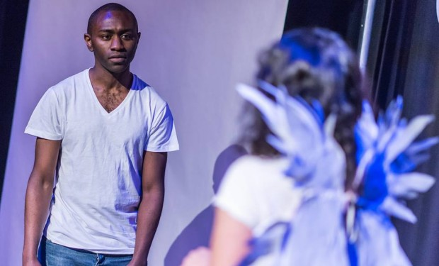 Article : Five plays hit several nerves - Arrivals 2 theatre review.IImage taken from Arrivals 2 play Theatre Review. Image taken from Arrivals 2 play The Lost Souls by Deirdre Cartmill. Robert Bertrand and Melissa Dean. Aricle appears in Integrate NiI and Affinity Magazine