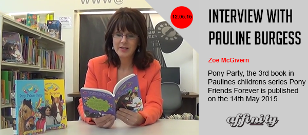Front over of Pony Party book - 3rd in Pony Friends Forever Series by Northern Irish Writer, Pauline Burgess - publishe by Blackstaff Press. Accompanying interview with Pauline burgess written and video for Integrate NI and Affinity TV.